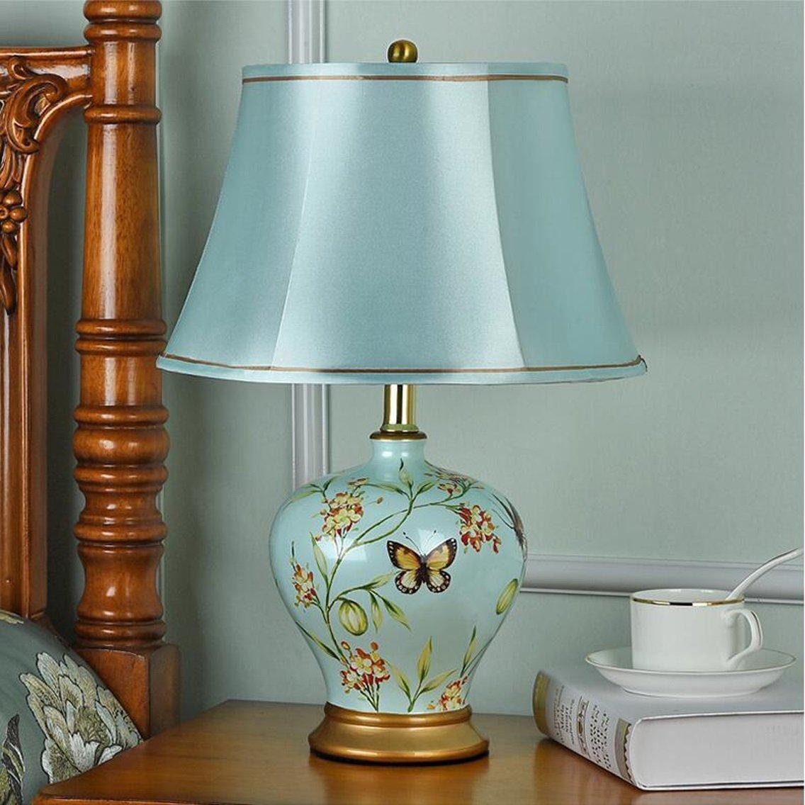 Amazon.com: HZB europeo lámpara de mesa recámara lámpara de ...
