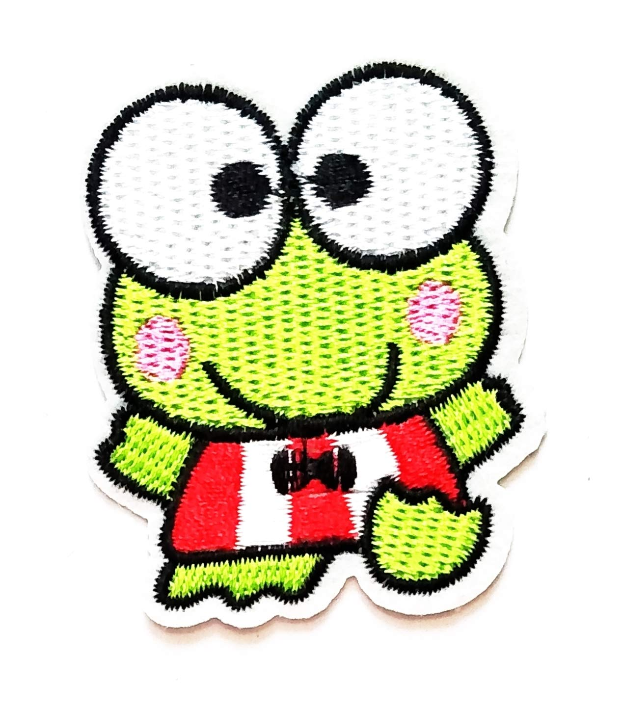 Nipitshop Patches Cute Little Green Frog Eyeball Cartoon Kids Patch Embroidered Iron On Patch for Clothes Backpacks T-Shirt Jeans Skirt Vests Scarf Hat Bag