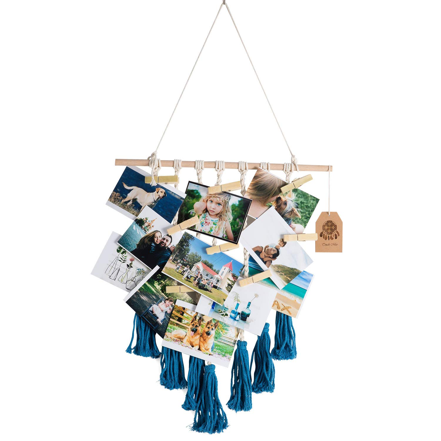 TOUCH MISS Macrame Photo Display Blue Pictures Organizer Macrame Wall Hanging Boho Home Decor, with 20 Wood Clips by TOUCH MISS