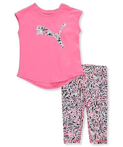 0ea963b57957fd Amazon.com  PUMA Girls  Little Girs  2 Piece Tee   Capri Set  Clothing