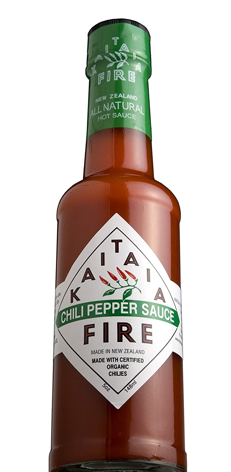 New Zealand's Famous Kaitaia Fire Chili Pepper Hot Sauce Made with Organically Grown Cayenne Chilis