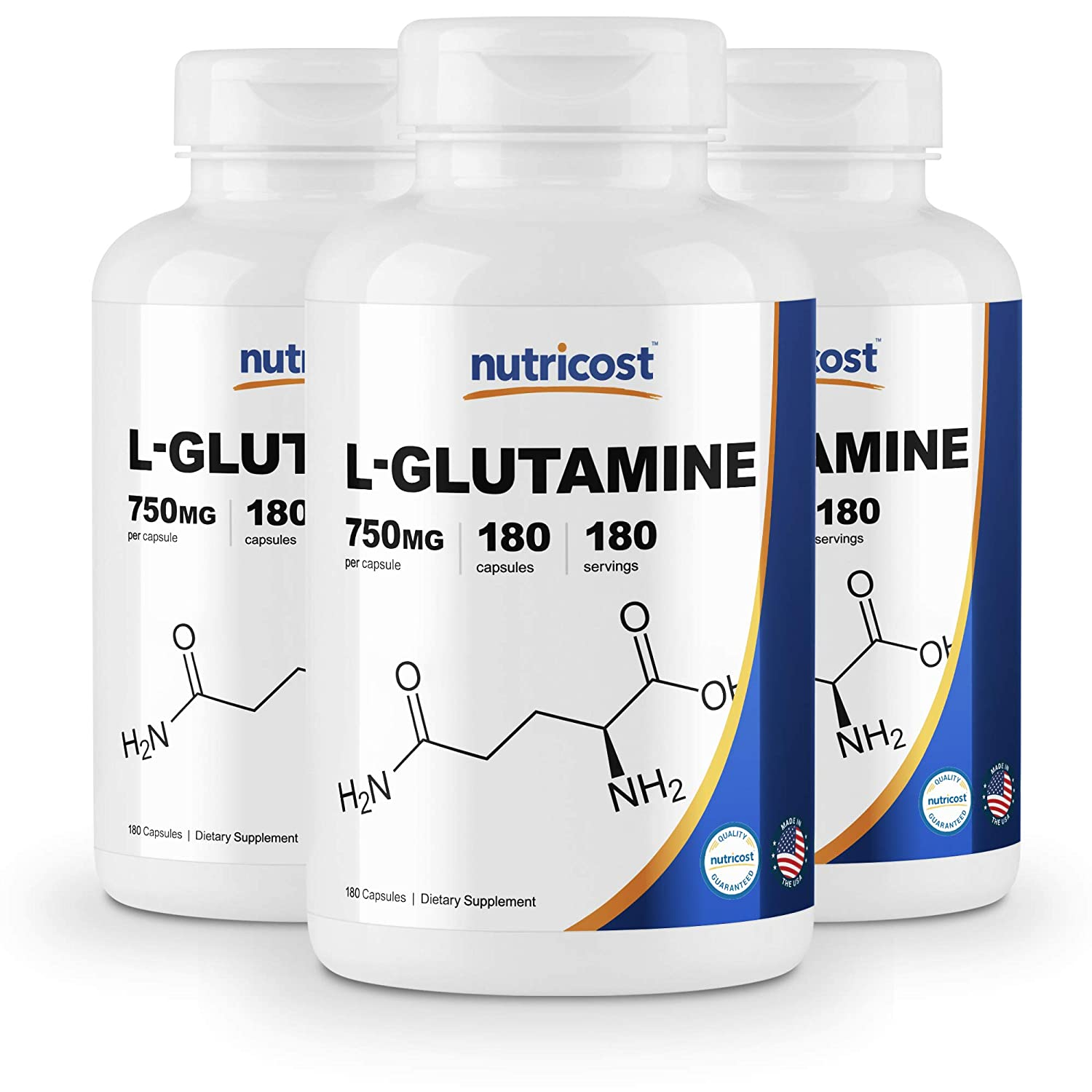 Nutricost L-Glutamine 750mg 180 Capsules 3 Bottles
