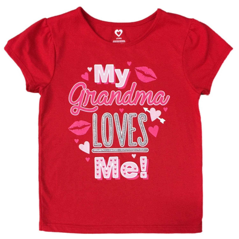 Heart Infant Toddler Girls Red My Grandma Loves Me Valentines Day