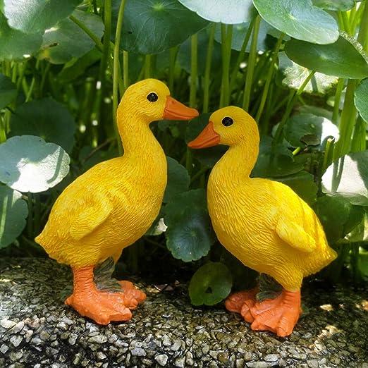 IFEVER Estatuas de jardín decoración de Exteriores, 2 Unidades, de Resina, Color Amarillo, para decoración de Patios de césped: Amazon.es: Jardín