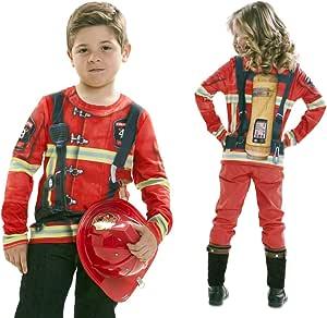 Disfraz Camiseta de Bombero Original de Carnaval Infantil para 4-6 ...