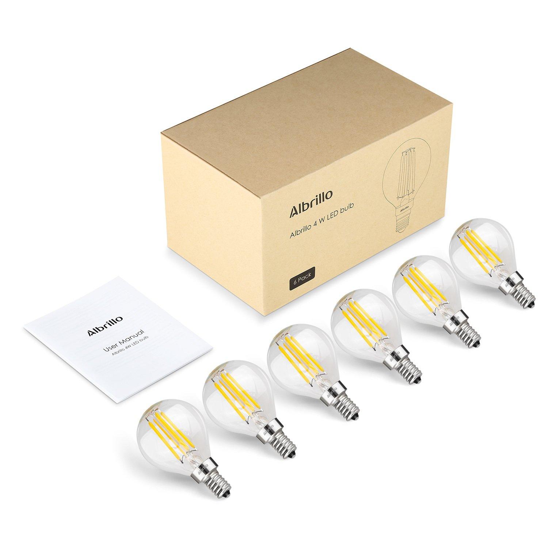 40 Watt Light Bulbs Equivalent Warm White 2700K 6 Pack Albrillo E12 LED Candelabra Bulb 4W