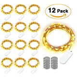 Brizled 12 Pack Battery Fairy Lights, 7.2ft 20 LED Fairy String Lights LED String Lights Silver Wire Lights Waterproof Starry Lights for Mothers Day, Bedroom, Wedding, Holiday, Decoration, Warm White