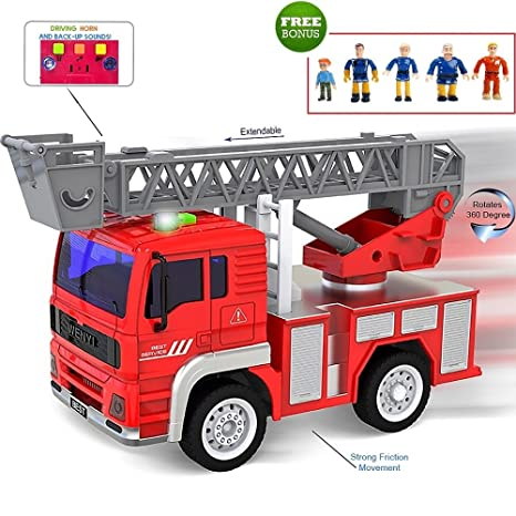 FUNERICA Toy Fire Truck With Lights And Sounds   Extendable Ladder   Powerful Friction Wheels