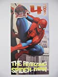 FANTASTIC COLOURFUL SPIDER-MAN 4 TODAY 4TH BIRTHDAY GREETING CARD & BADGE