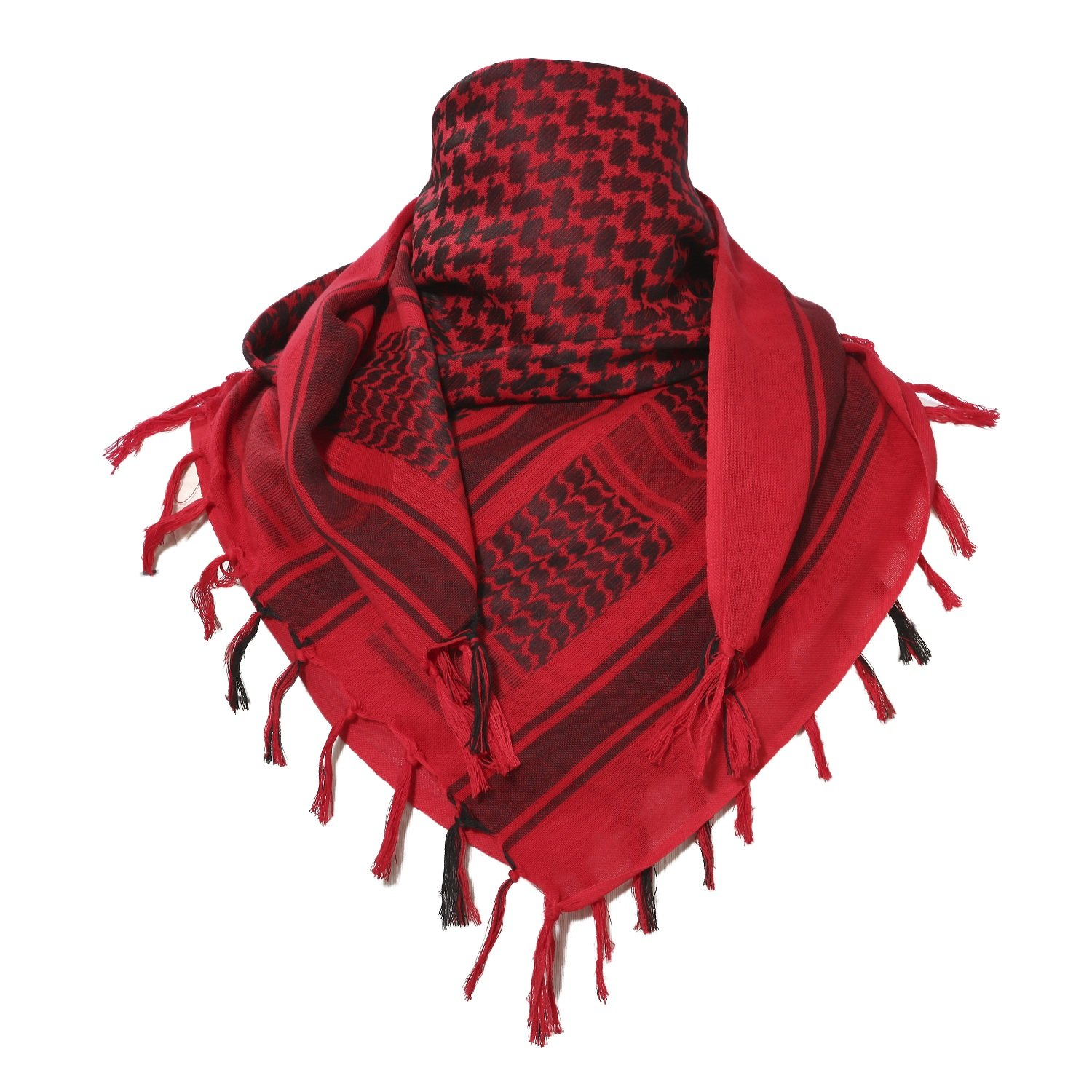 100% Cotton Keffiyeh Tactical Desert Scarf Wrap Shemagh Head Neck Arab Scarf Red