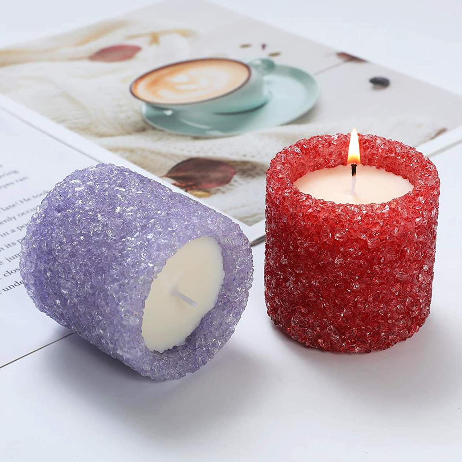 Scented Candle Gift Set for Women Men Aromatherapy Soy Wax with Strongly Fragrance Essential Oils 50-60 Hour Body Bath Home Jar Candles (Lavender+Orange Lemon Splash)