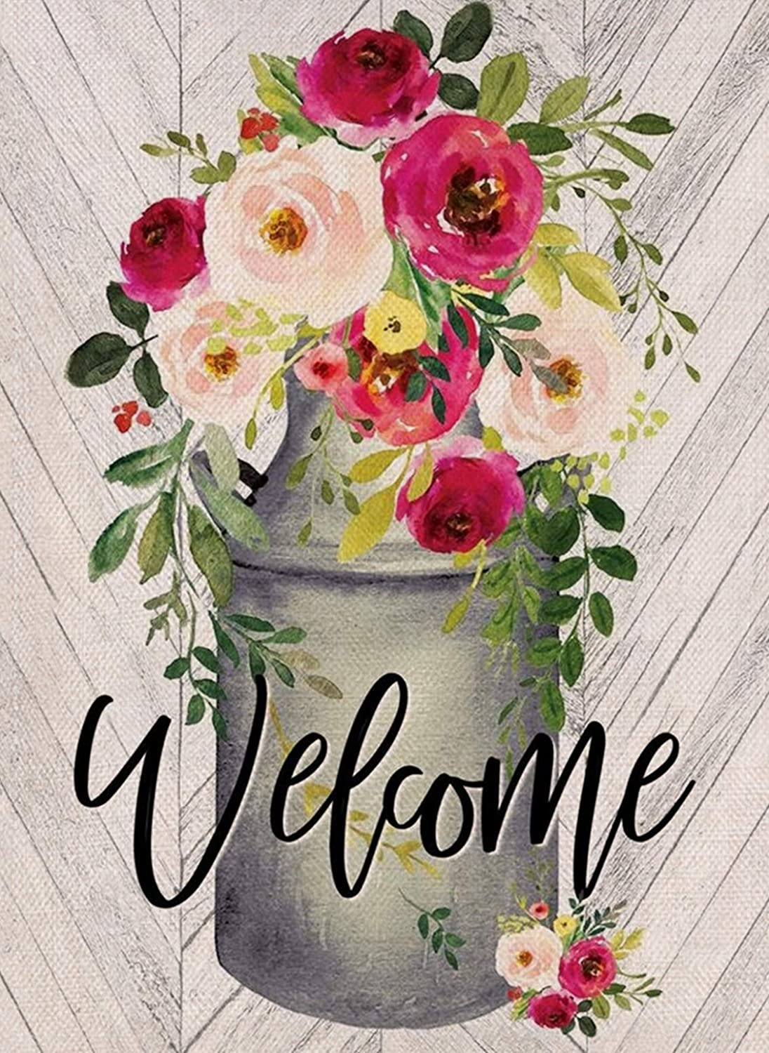 Covido Welcome Home Decorative Garden Flag, House Yard Watercolor Flowers Decor Autumn Outdoor Small Flag Peony Sign, Vintage Farmhouse Outside Decorations Seasonal Burlap Flag Double Sided 12 x 18