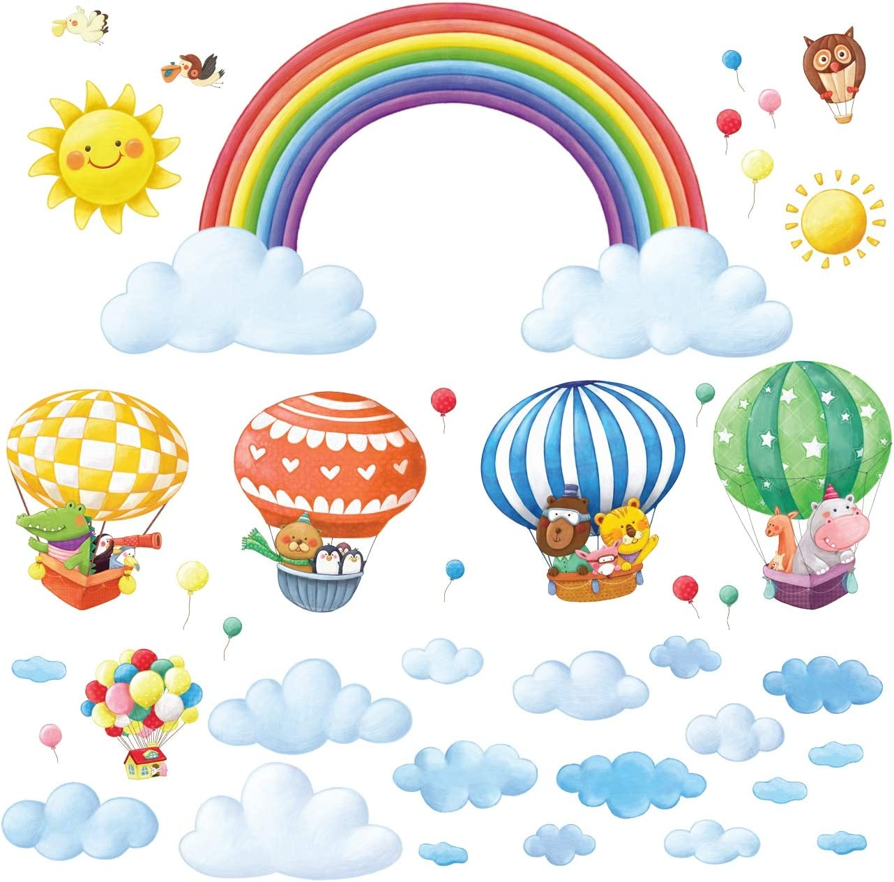 DECOWALL DA-1913P1406A Rainbow and Animal Train Kids Wall Stickers Wall Decals Peel and Stick Removable Wall Stickers for Kids Nursery Bedroom Living Room