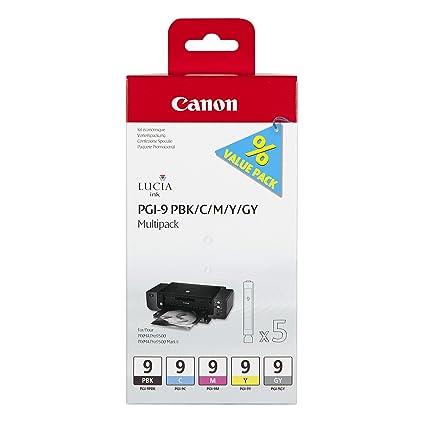 Canon PGI-9 5 Cartuchos Multipack de tinta original PBK/C/M/Y/GY para Impresora de Inyeccion de tinta Pixma PRO9500-PRO9500MarkII