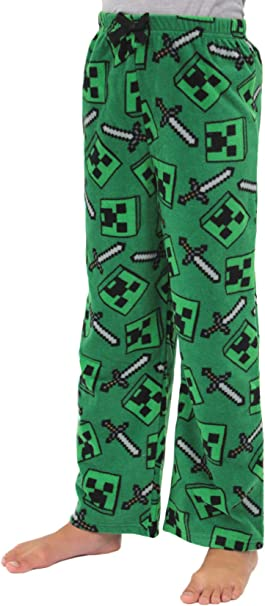 Amazon Com Minecraft Creeper Zombie Pantalones De Pijama Para Ninos Clothing