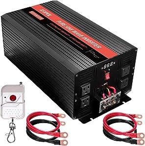 KRIPOL 3000 Watt Pure sine Wave Inverter 12v DC to 110v AC Car Power Inverter with 4 AC Outlets & 1 USB Output Power Battery Converter-Peak Power 6000W