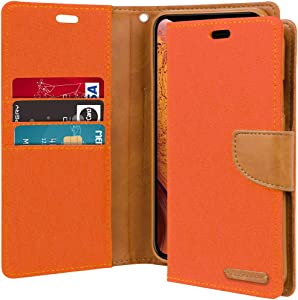 Goospery Canvas Wallet for Apple iPhone Xs Case (2018) iPhone X Case (2017) Denim Stand Flip Cover (Orange) IPX-CAN-ORG