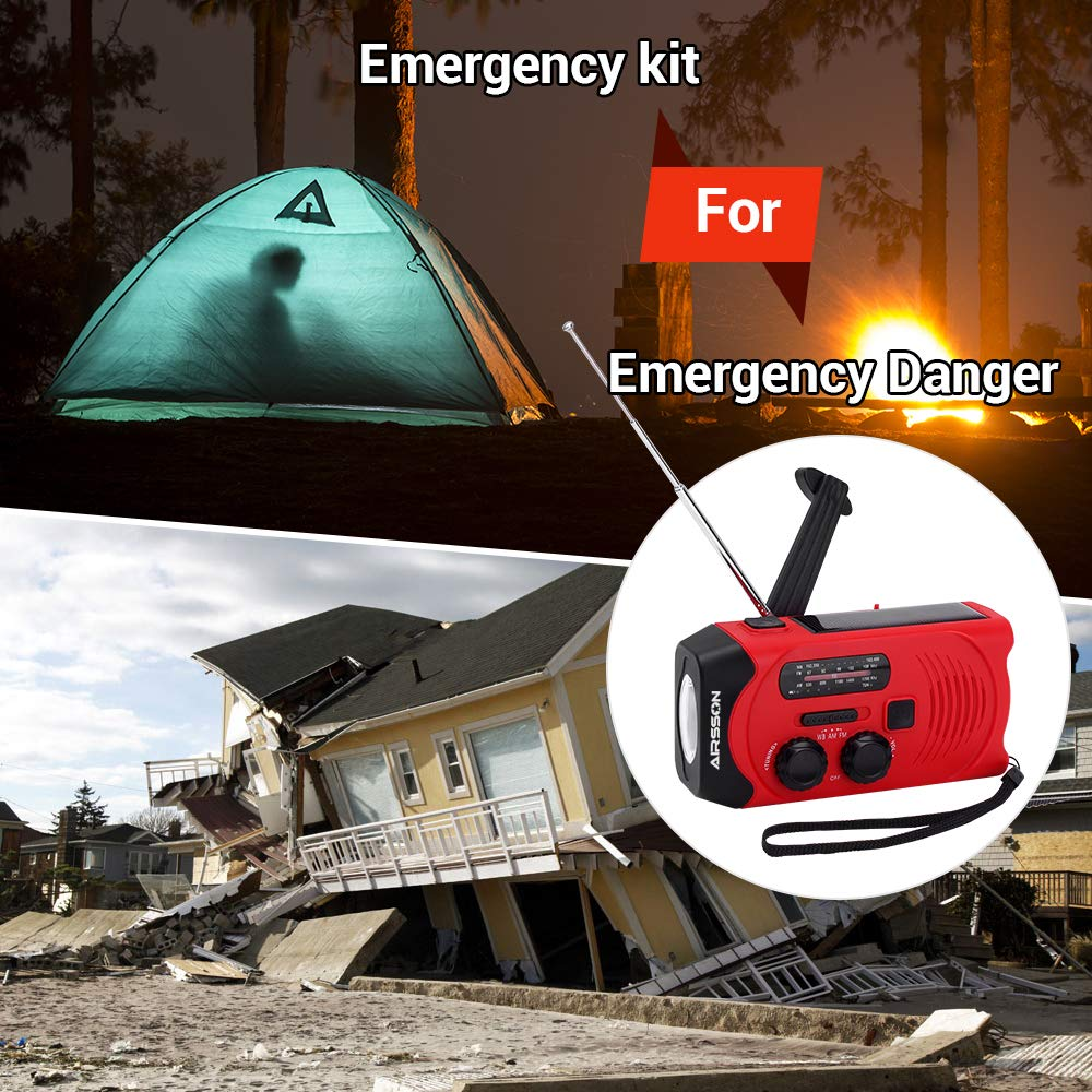 〖SOS Version〗AIRSSON Emergency Solar Hand Crank Portable Radio with Battery Indicator, WB Weather Radio for Household&Outdoor with AM/FM, LED Flashlight, 2000mAh Power Bank USB Charger and SOS Alarm