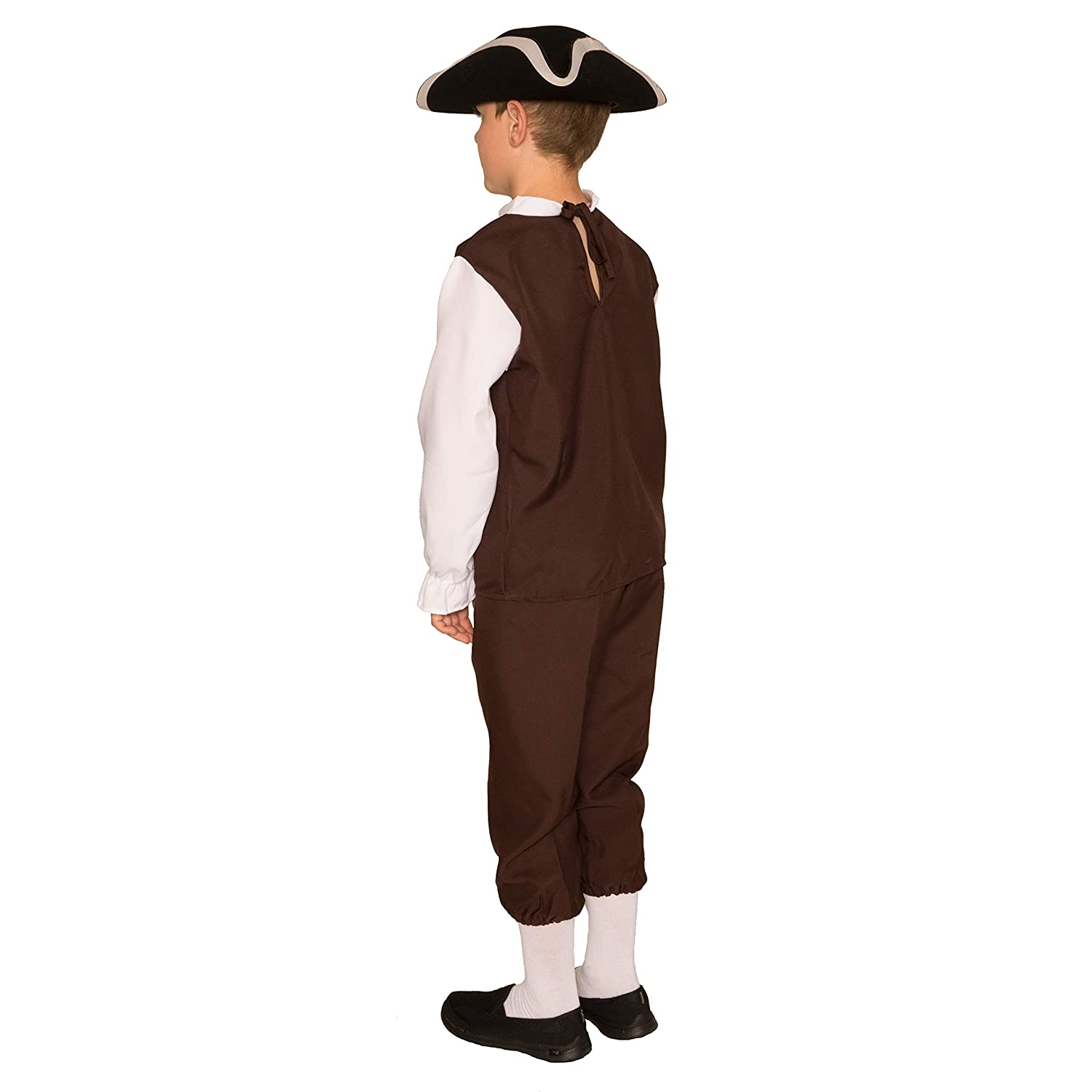 Arology Colonial Boy Child Size Costume Fabric for Comfortable Fit Including Shirt with Collar and Pants