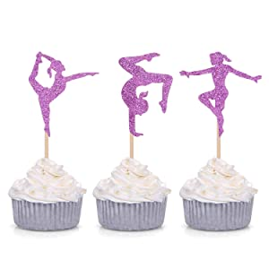 24 Counts Purple Glitter Gymnastics Cupcake Toppers Gymnast Girl Baby Shower Theme Party Supply Picks