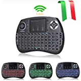 Joyhero QWERTY Wireless Mini Tastiera(layout ITALIANO) Retroilluminata e Mouse Touchpad Combinato per Android TV Box / PC / Xbox 360 / PS4 / smart TV ecc