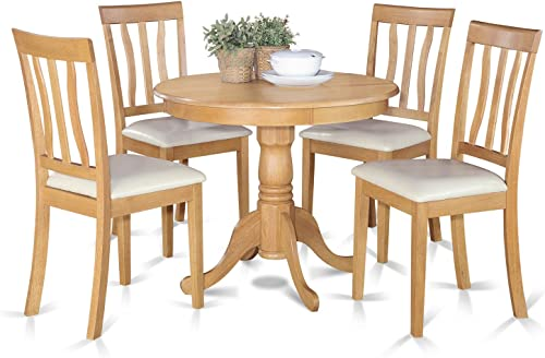 ANTI5-OAK-LC 5 PC Kitchen Table set-small Kitchen Table plus 4 Dining Chairs