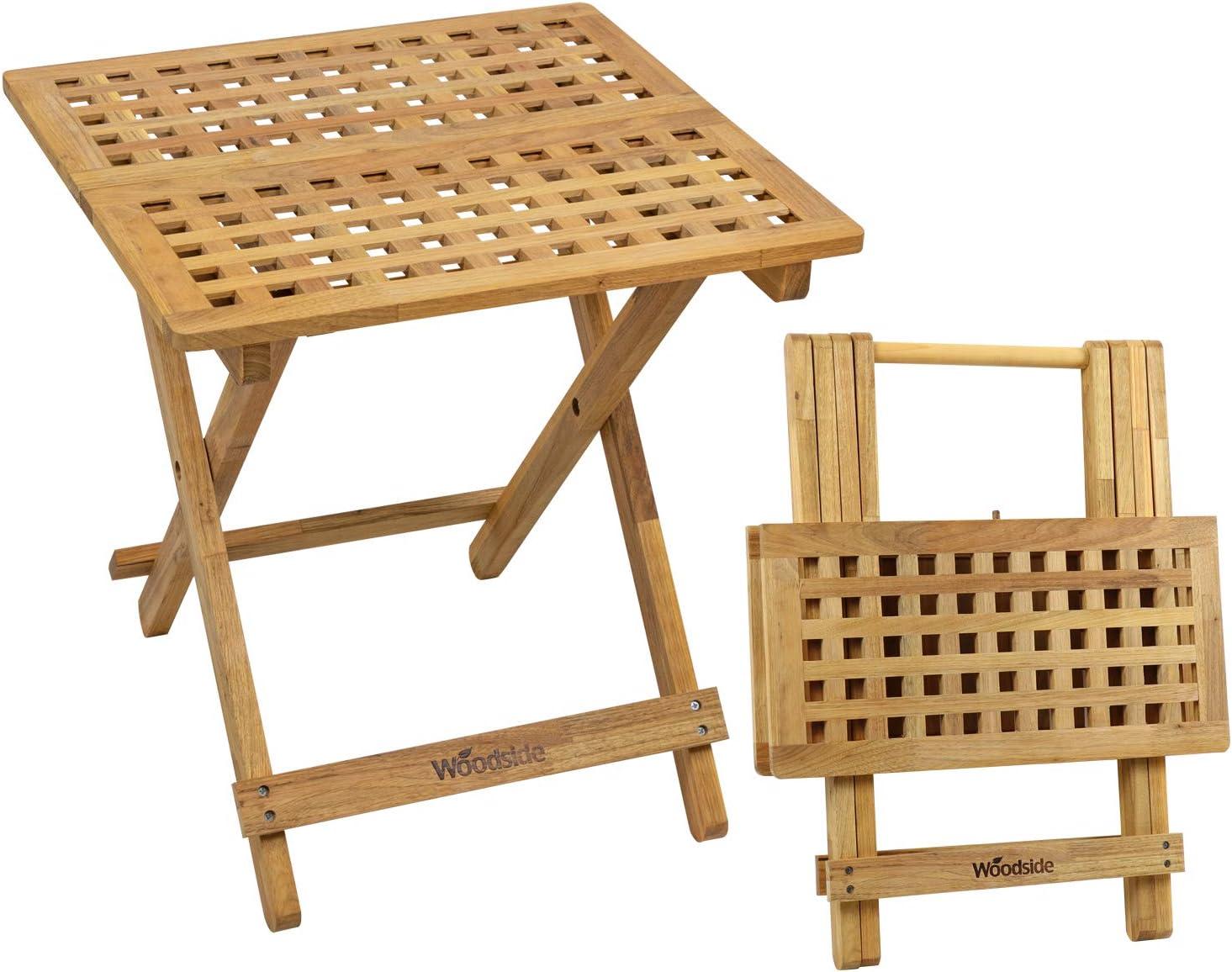 Woodside Belford Wooden Folding Garden Coffee Table, 50cm x 50cm x 50cm, Treated Walnut Wood