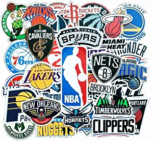 Basketball NBA Stickers for Laptop 31 Pack All Team Basketball Star Logo Stickers for Water Bottle Hydroflask Skateboard Bike Computer Car Waterproof Stickers for Kids Boy Teens Adults