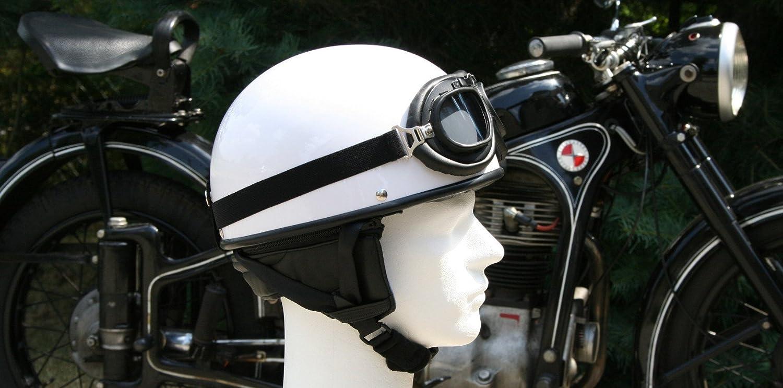 M 57//58cm ATO-Helme Oldtimer Motorradhelm mit Brille Gr/ö/ße Wei/ß