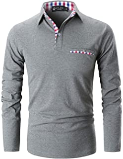 e4f25cea6 STTLZMC Polo Shirts for Men Long Sleeve Casual Fit Plaid Collar T-Shirts