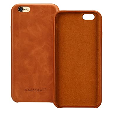 Jisoncase I Phone 6s Case Genuine Leather Hard Back Case Slim Fit Protective Cover Snap On Case For I Phone 6/6s [Brown] Js I6 S 02 A20 by Jisoncase