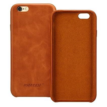 Amazon Com Jisoncase Iphone 6s Case Genuine Leather Hard Back Case