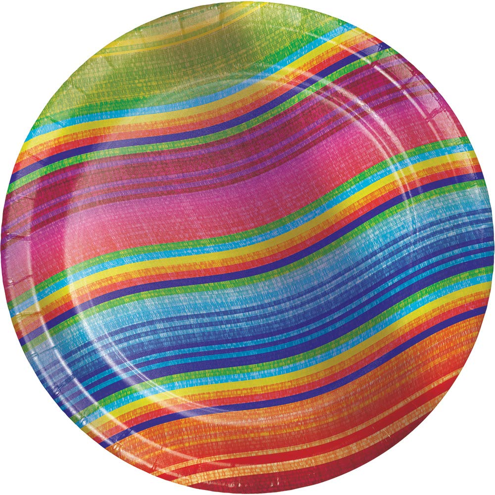 Club Pack of 96 Multi-Colored Serape Curved Striped Luncheon Party Plates 7''