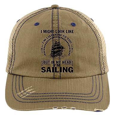 9fb47a491 I'm Listening To You Hat, In My Head I'm Sailing Trucker Cap ...