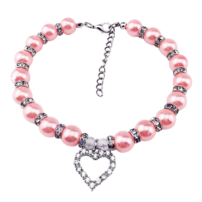 Boodtag Collier Perle de Chien Bijoux Adjustable Bling Strass Forme Coeur pour Animaux de Campagne Collier à Pendentif (S, Bleu)