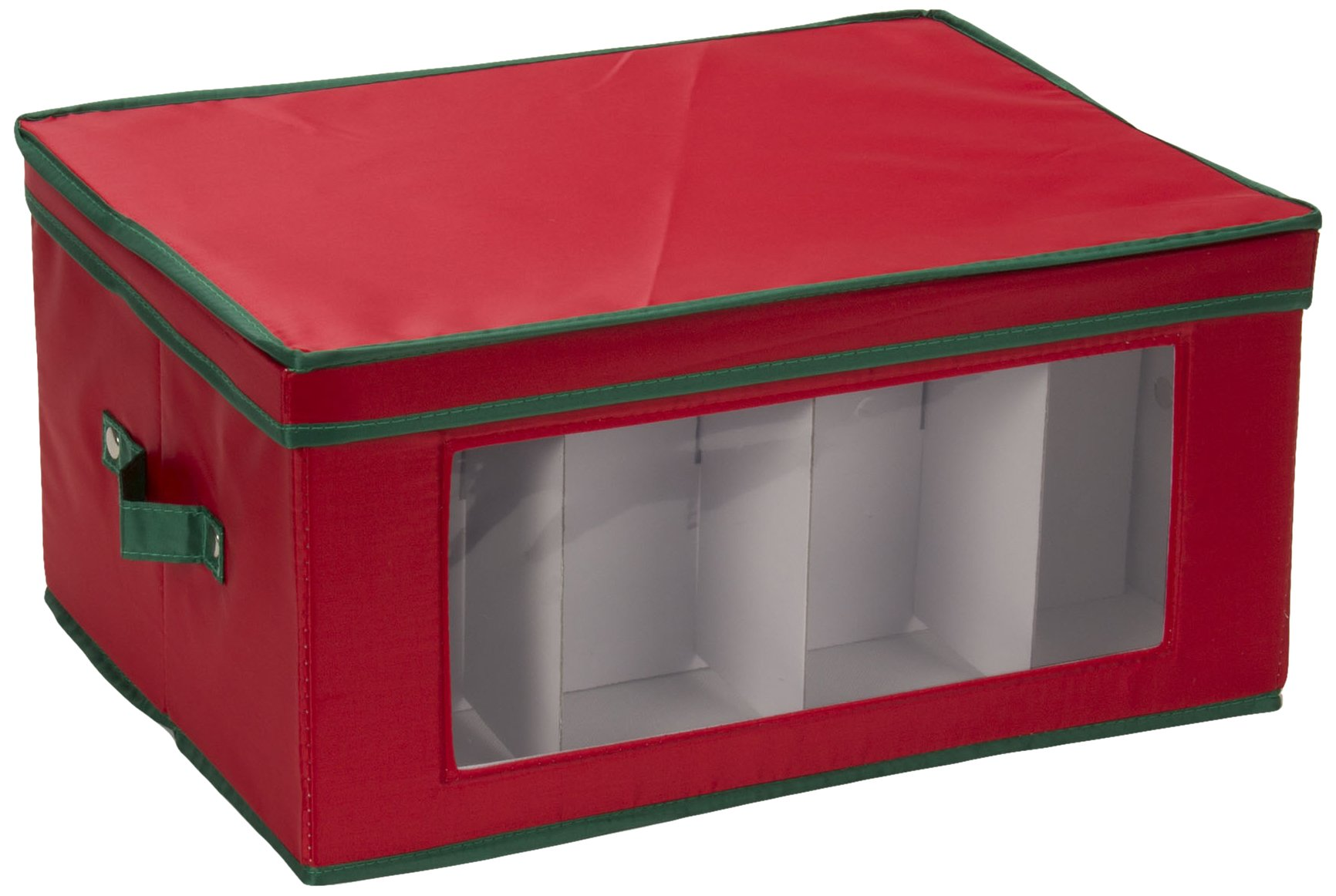 Household Essentials 542RED Holiday China Storage Chest with Lid and Handles | Wine and Balloon-Style Glasses | Red Canvas with Green Trim
