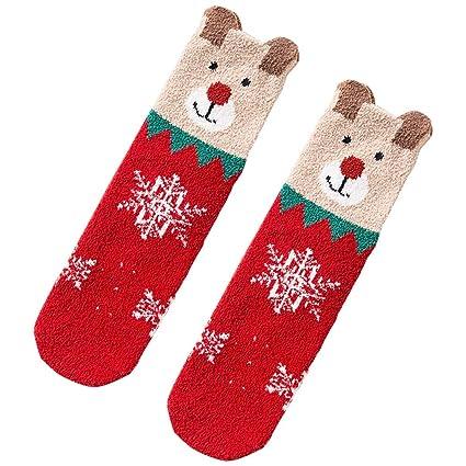 Lingqiqi Calcetines Antideslizantes 4 Calcetines Dobles de Navidad para niños y niñas. Calcetines de algodón