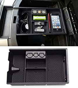 Jaronx for Dodge RAM Center Console Organizer, Console Storage Box for Dodge RAM 1500 (2009-2018) and RAM 2500/3500 (2010-2018),Armrest Organizer Tray + Coin Holder (Full Console w/Bucket Seats ONLY)
