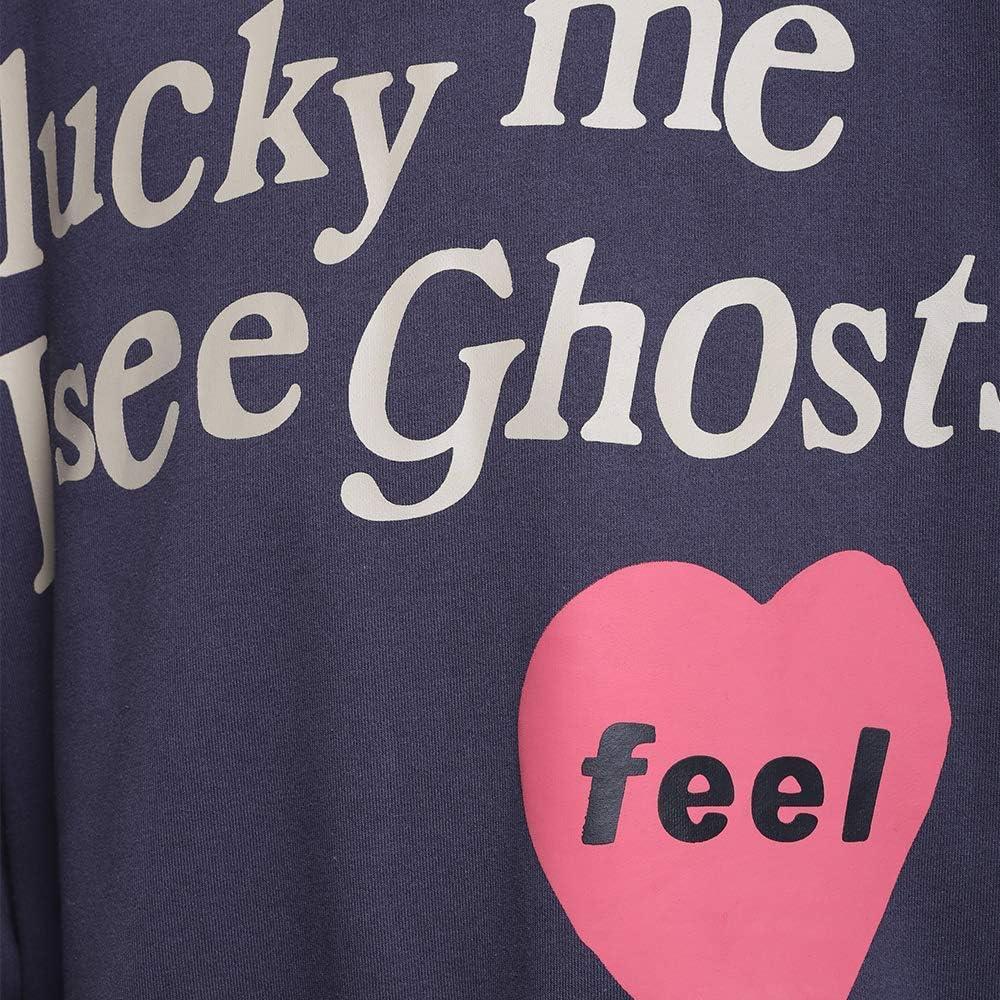 WOZHIFU Kanye Lucky Me I See Ghosts Sweatshirts Hip Hop Hooded Hoodie for Men Womens