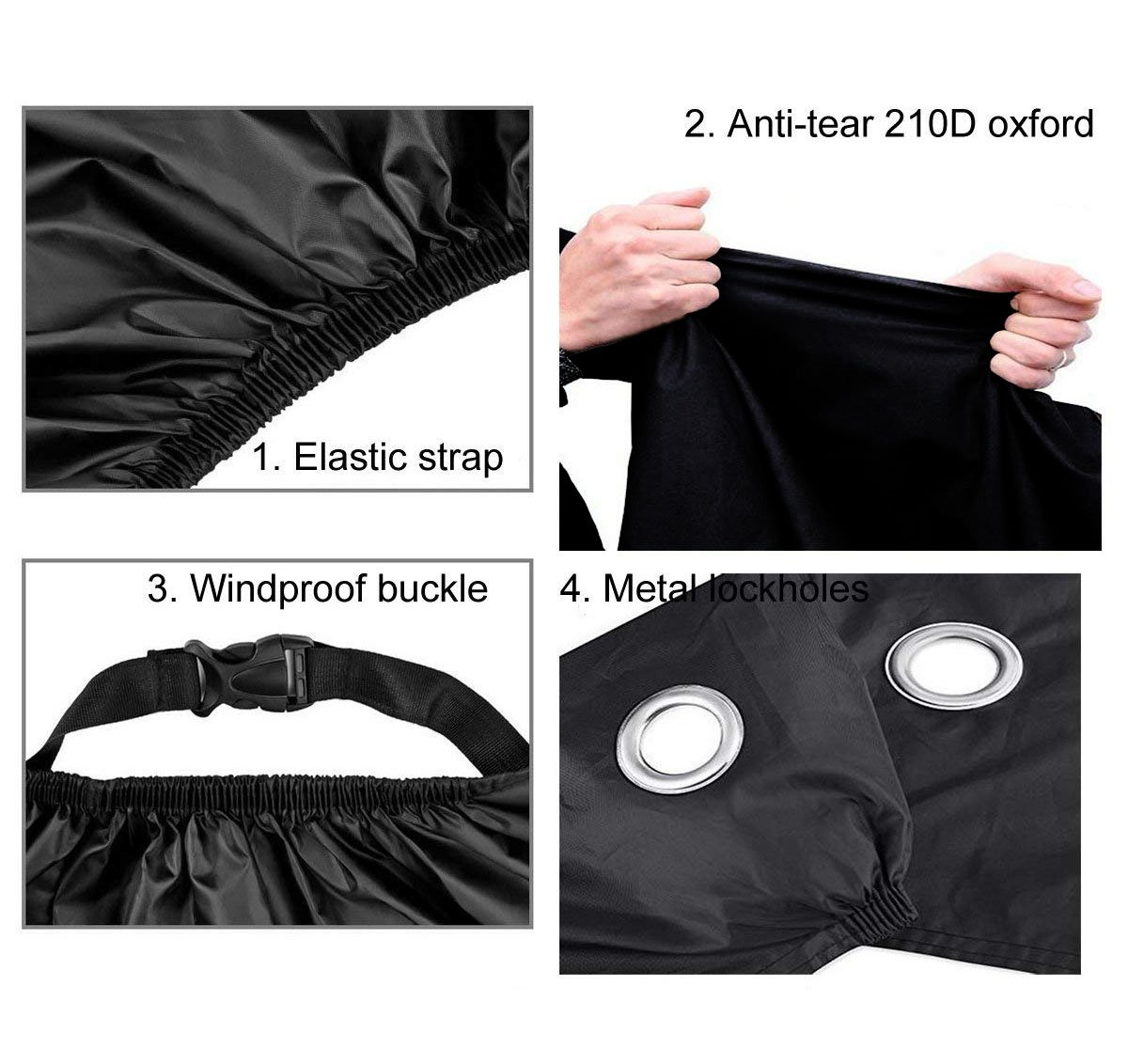 ANFTOP Motorcycle Cover XXXL/210D Fabric Heavy Duty Waterproof Motorbike Cover With Lock Hole Anti Dust Rain UV Protective Waterproof Motor Cover For Indoor Outdoor Large 3XL