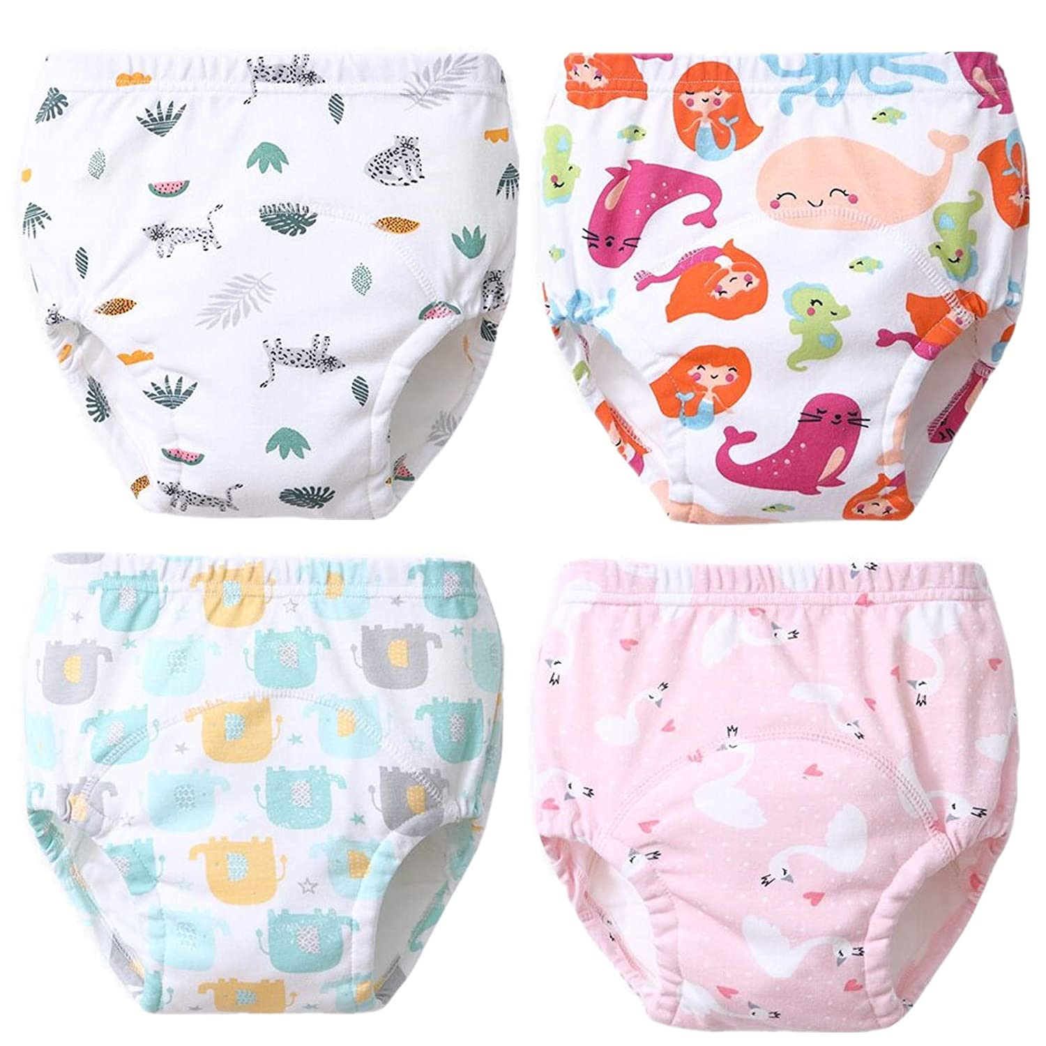 4 Pack Toddler Potty Training Pants Six Layered Cotton Training Underwear for Toddlers Girls Boys 6M-3T B, 6-18 Months-S