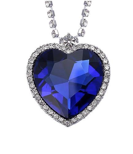 931381efc073 Celebrity Jewellery real del corazón azul de la pendiente del Titanic  collar Océano cristal Swarovski Elements  Amazon.es  Joyería