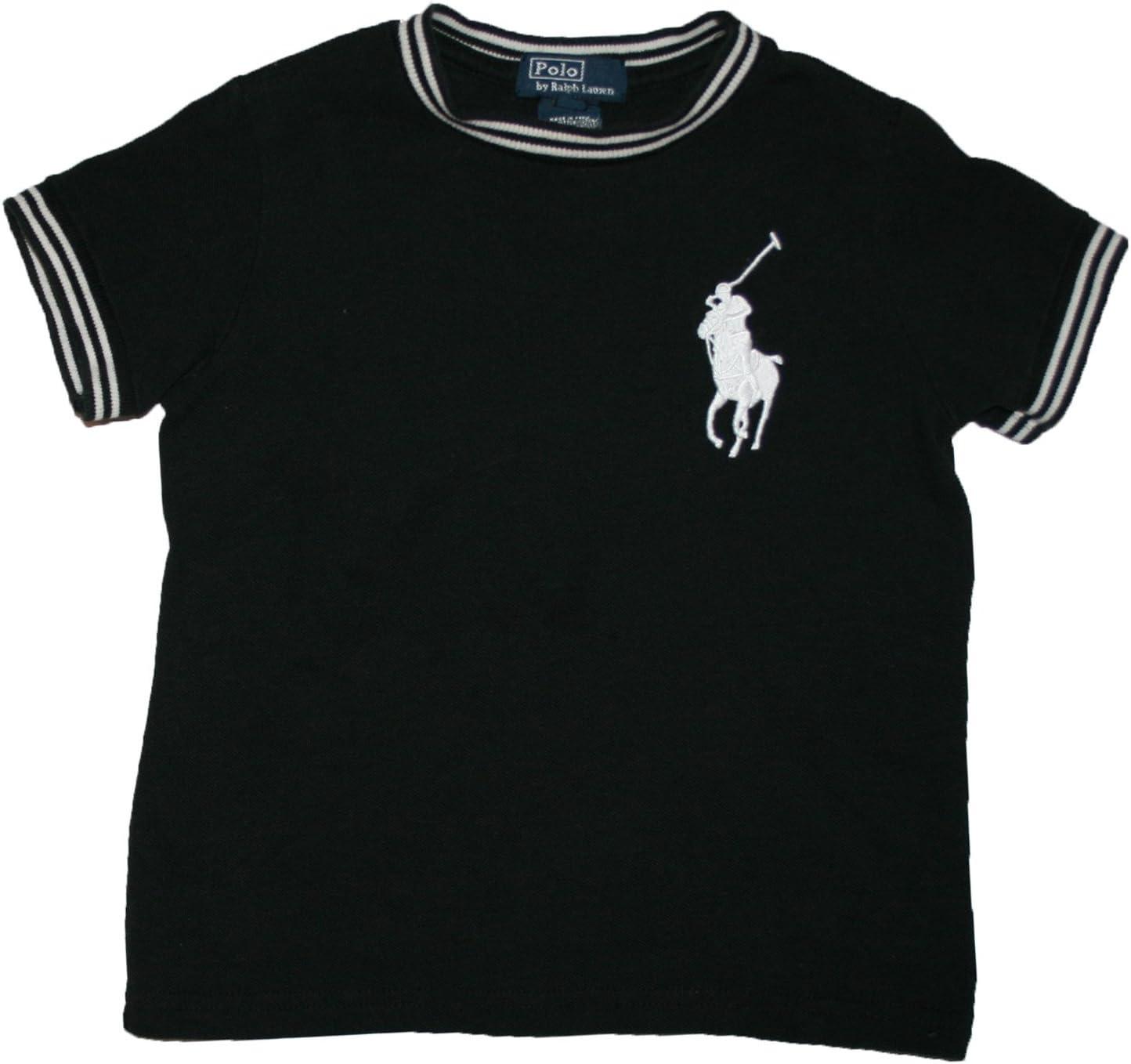 Ralph Lauren Niños Camiseta de Big Pony Polo Jinete Blanco y Negro Polo plástico: Amazon.es: Bebé