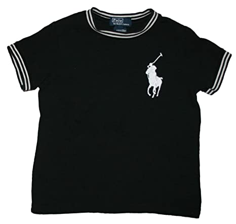 Ralph Lauren Niños Camiseta de Big Pony Polo Jinete Blanco y Negro ...