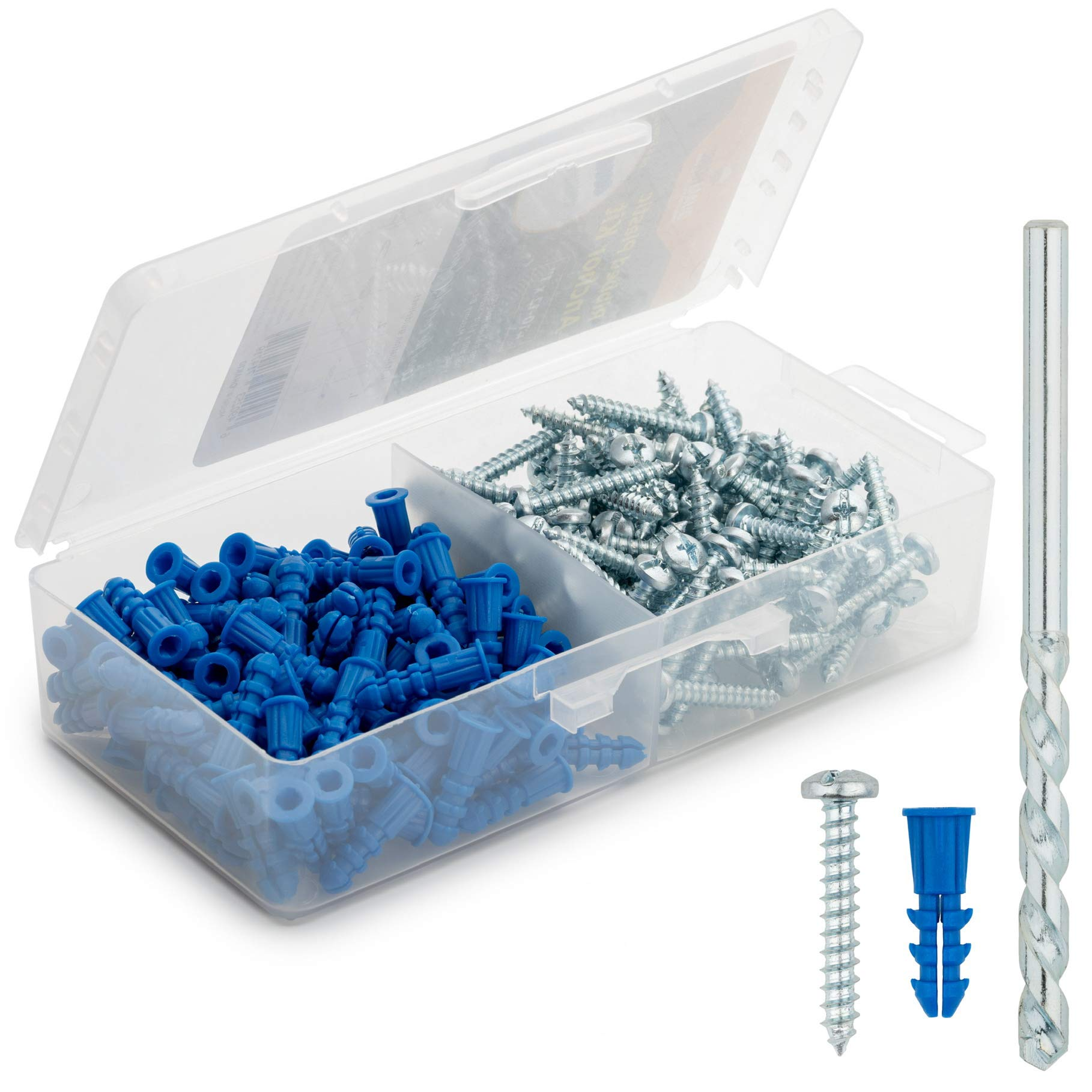 Glarks 220-Pieces Plastic Self Drilling Drywall Ribbed Anchors Hollow-Wall Anchor with Screws Assortment Kit for Drywall Hollow-Wall Hanging Wall Shelf or Blinds