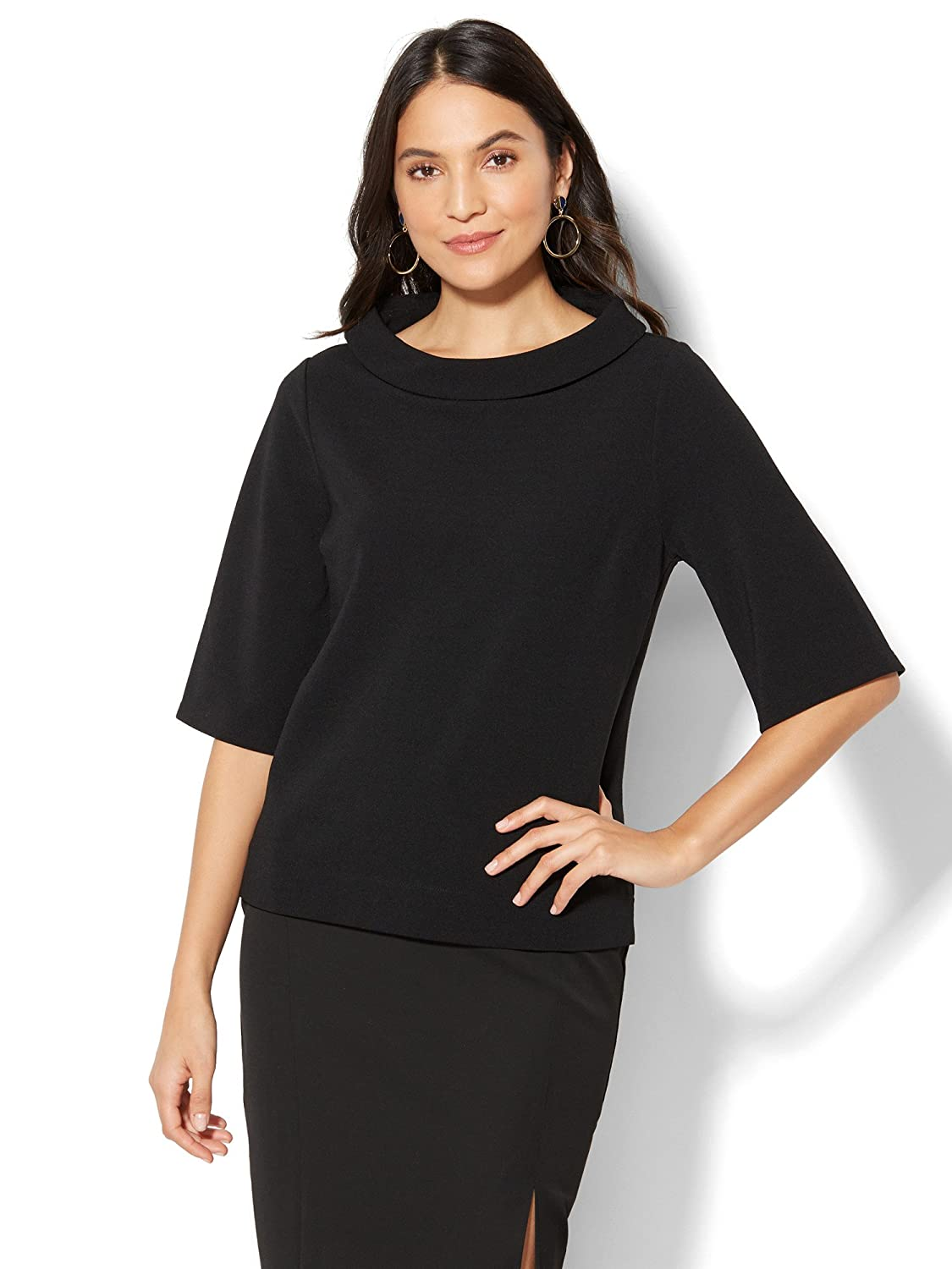 New York & Co. Women's 7Th Avenue - Funnel-Neck Bell-Sleeve Top - Black