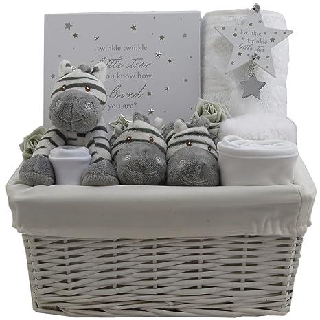 Cestas de regalo para bebé, cestas de regalo para bebé, color gris y ...