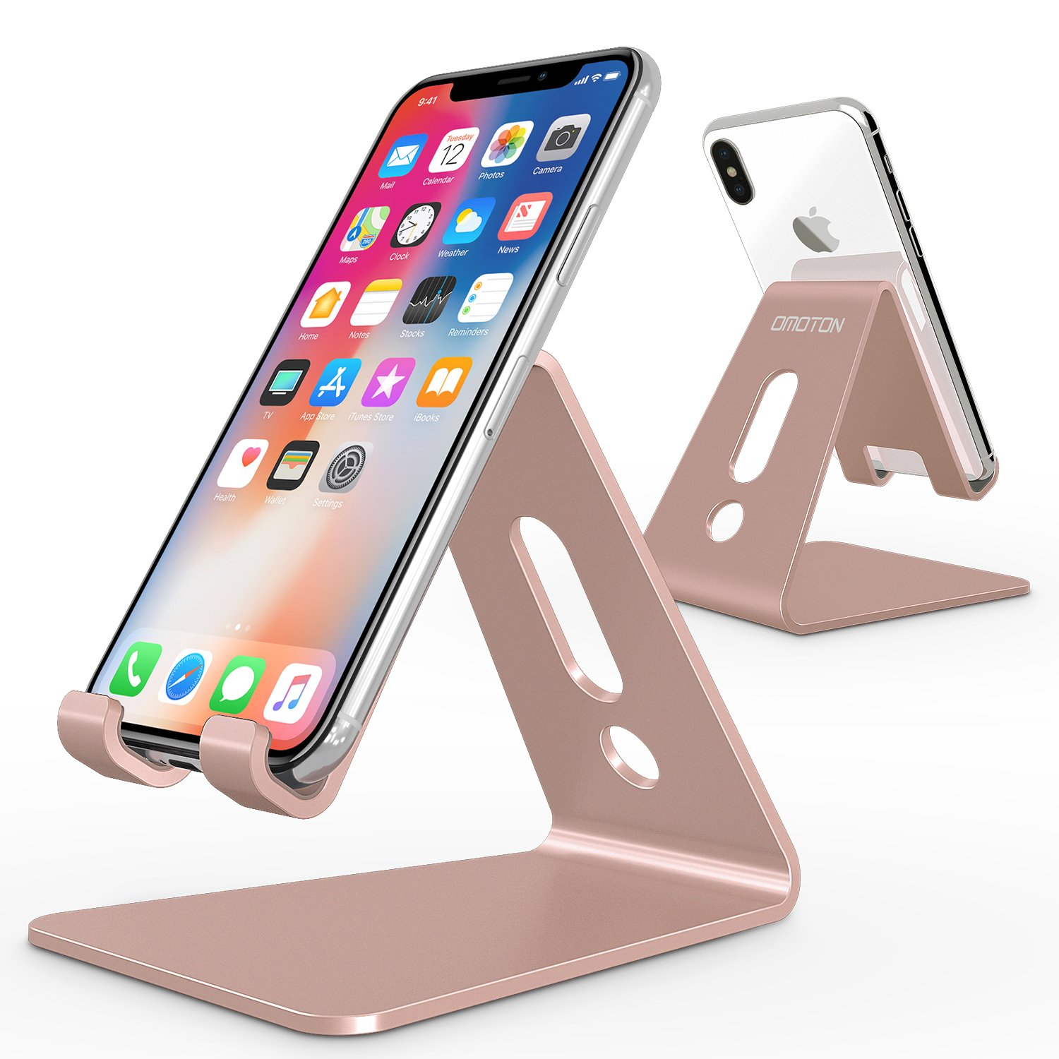 [Updated Solid Version] OMOTON Desktop Cell Phone Stand Tablet Stand, Advanced 4mm Thickness Aluminum Stand Holder for Mobile Phone (All Size) and Tablet (Up to 10.1 inch),Rose gold product image