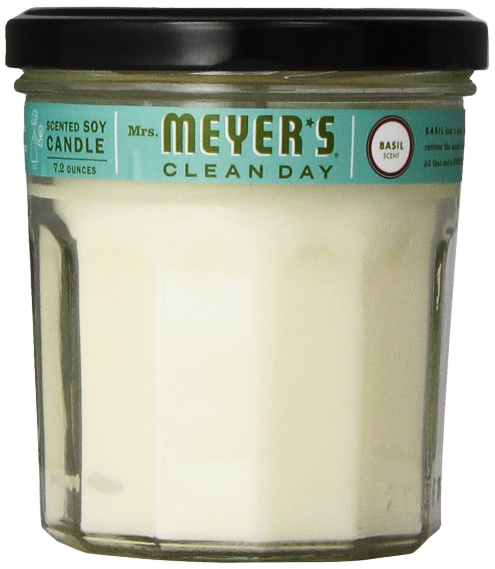 Mrs. Meyer's Soy Candle, Basil, 7.2-Ounce Glass Jars (Pack of 6)