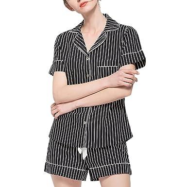 52a717cb99 Zhhlaixing Women s Short Pajamas Set Breathable Cotton Short Sleeved ...